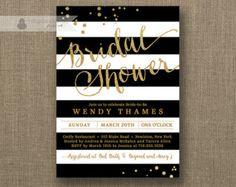 Black & White Stripe Bridal Shower Invitation Gold Glitter Confetti Dots Modern Gold Script Classic Printable Digital or Printed- Wendy