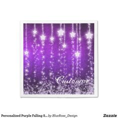 Shop Personalized Purple Falling Stars Holiday Napkins created by BlueRose_Design. Party Napkins, Cocktail Napkins, Christmas Napkins, Falling Stars, Cloth Napkins, Rose Design, Vinyl Lettering, New Years Eve Party, Paper Plates