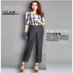 Tencel pants thin plus size ankle length trousers bloomers loose harem pants high waist tencel denim $42.00