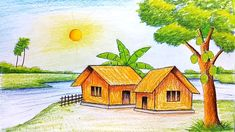 Easy Scenery Drawings Drawing Scenery Pictures Easy Scenery Drawing Painting How To Draw Scenery Drawing Pencil, Beautiful Scenery Drawing, Scenery Drawing For Kids, Pencil Drawings, Colour Pencil Drawing, Pencil Art, Landscape Drawing Tutorial, Landscape Drawings, Cool Landscapes