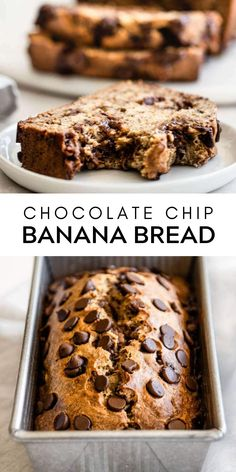 Easy to make, delicious, and super moist and soft chocolate chip banana bread. All you need is one bowl and a few ingredients from your pantry to whip up this delicious breakfast or afternoon snack. | realandvibrant.com #realandvibrant #bananabread #breakfast #easytreats #dessertideas #chocolate Quick Bread Recipes, Delicious Cake Recipes, Yummy Snacks, Yummy Cakes, Baking Recipes, Dessert Recipes, Recipes Dinner, Healthy Snacks, Desserts