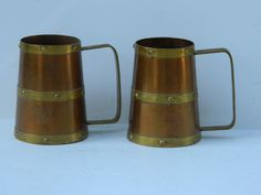 Vintage Copper and Brass Mugs / Set of 2 by QuirkyCrowsVintage, $22.00