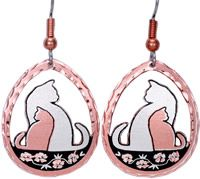 Cat Earrings silver plated and diamond cut to sparkle on copper. No polishing required.