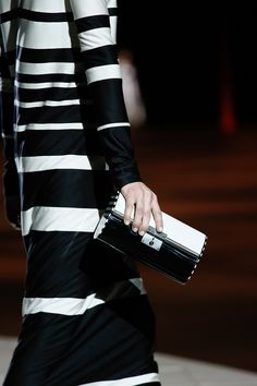 Marc Jacobs spring 2013 black and white stripes and small structured clutch