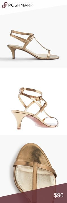 """J. Crew Greta metallic sandals in brocade gold Designed with a sultry, strappy kitten heel and metallic leather, these sandals match your shining personality. And pretty much everything in your closet. 2 1/4"""" heel.  Leather upper. Cushioned insole. Made in Italy. Online exclusive. Item #14346 J. Crew Shoes Sandals"""