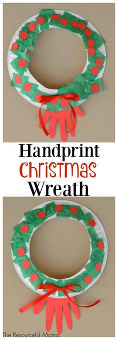 Handprint paper plate Christmas wreath kid craft