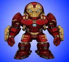 PAPERMAU: Iron Man - Hulkbuster Paper Model In Chibi Style - by Unfold Brazil