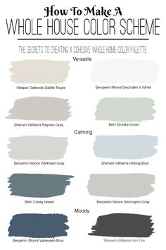 How to Choose a Home Paint Color Scheme. The secrets to creating a cohesive interior paint color. House Color Schemes Interior, Bathroom Color Schemes, Paint Color Schemes, Interior Paint Colors, Paint Colors For Home, House Paint Interior, Bedroom Paint Colors, Gray Bedroom Color Schemes, Living Room Paint Colours
