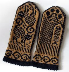 Pattern: Cat Mittens Designer: Jorid Linvik Yarn: KnitPicks Gloss in Black and Serengeti Needles: Knitted Mittens Pattern, Crochet Gloves, Knit Mittens, Knitting Socks, Hand Knitting, Knitting Patterns, Crochet Patterns, Kitten Mittens, Yarn Projects
