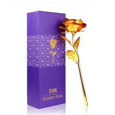 24K Gold Plated Rose Flower Valentines Day Gift Romantic Golden Forever Love #Konesky