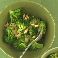 Broccoli with Caramelized Onions & Pine Nuts -- A simple and healthy side dish!