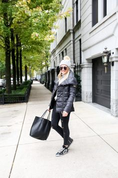 Quilted Jacket + Fur Pom Beanie + Black Denim + Glitter Sneakers   bows & sequins
