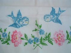 Bluebird Pink Flower Hand Embroidered 2 Pair Pillow Cases Vintage | eBay
