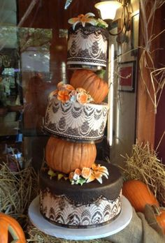fabulous fall wedding cake- inspired by fabric
