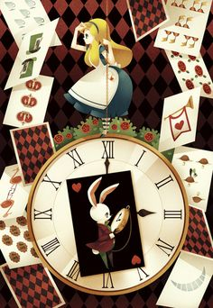 Alice in Wonderland Clocks and White Rabbit illustration Lewis Carroll, Illustration Arte, Illustrations, Disney Illustration, Rabbit Illustration, Disney Love, Disney Art, Fan Art, Chesire Cat