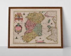Medieval Map of Ireland, originally created by Willem Janszoon Blaeu, now available as a 'museum quality' classic decoration print. Map Of Great Britain, Historical Maps, Antique Maps, Cherub, Fine Art Paper, Vintage World Maps, Paper Crafts, Framed Prints, Wexford Ireland