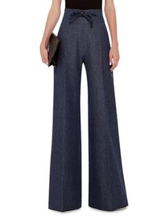 Shop High Waisted Linen Wool Pants with Leather Detailing. The Paris-based Australian designer strikes a balance between nonchalance and perfectionism in typically luxurious fashion this season. Wool Pants, Women's Pants, Trousers, 2016 Fashion Trends, Pants For Women, Clothes For Women, Work Looks, Fashion Branding, Clubwear
