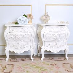 Pair of Ornate Nightstands $525.00 #thebellacottage #shabbychic #OOAK
