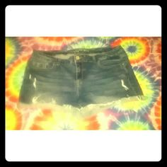 Aeropostale dark destroyed shorts. These shorts are in good condition & have been worn a handful of times. I really hate to get rid of them, but they no longer fit me & are too big! Aeropostale Shorts Jean Shorts