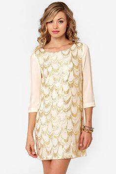 Gold and cream embroidered dress <3<3 Get 7% Cash Back http://www.studentrate.com/itp/get-itp-student-deals/lulu-s-Student-Discount--/0