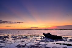 Sunset at oyster field 彰濱夕照
