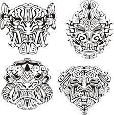 Image issue du site Web http://www.coloriage-adulte.com/images/coloriages/aztec/aztec-masques-monstres.jpg
