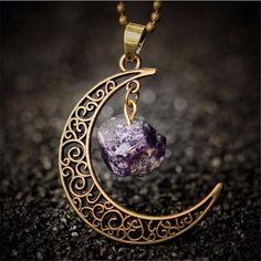 Purple Amethyst Moon Healing Semi-Precious Natural Stone Necklace #crystals #crystalhealing #necklace #jewellery #jewels #boho #bohostyle #bohojewelry #bohofashion #bohemian #bohemianstyle #moon #gems #gemstones