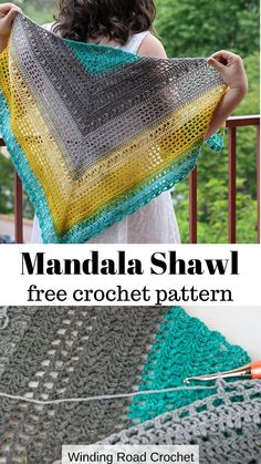 Desert Sunset Shawl | Free Crochet Pattern | Video Tutorial | Winding Road Crochet | #crochetshawl #crochetpattern #crochetwrap #crochetvideotutorial #crochettutorial