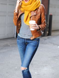 Fall Fashion-- brown leather jacket! See Jane.: Cognac + Mustard (See Jane Wear)