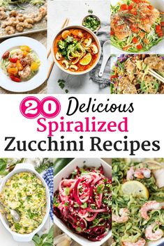 Have some zucchini to use up – or just want to try using more zucchini noodles in your cooking?  These 20 spiralized zucchini recipes are among some of the best healthy tasty recipes out there! | zoodle recipes | zucchini noodle recipes | #food #zucchini #zoodles #noodles #recipe #healthyrecipe