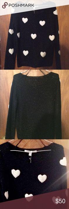 LC Lauren Conrad Sweater 🖤 NWT LC Lauren Conrad Black Glitter Heart Sweater 🖤 LC Lauren Conrad Sweaters