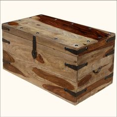 1. Large Wood Storage Toy Box Chest Trunk Coffee Table NEW