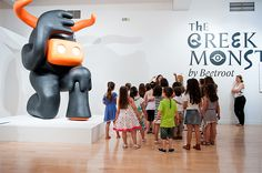Kids visiting The Greek Monsters Exhibition at Benaki Museum Athens by Beetroot Design Group www.