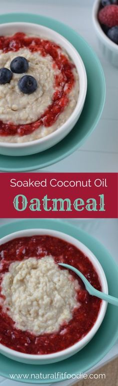 What could be more satisfying than a creamy bowl of warm soaked coconut oil oatmeal in the morning? What's For Breakfast, Healthy Breakfast Recipes, Healthy Food, Detox Breakfast, Breakfast Snacks, Breakfast Bowls, Healthy Recipes, Real Food Recipes, Cooking Recipes