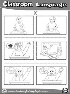 Classroom Language - Picture Dictionary Cutouts - page 1 (B&W version)