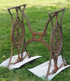 Sewing Machine Base Becomes a Beauty - Cheap find at an auction; $4. It was covered in rust, dust, spider webs, etc. I think it had been in a barn for a long ti…