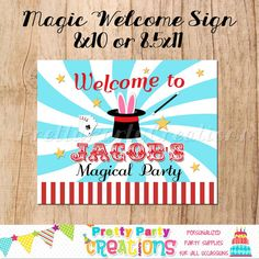 MAGIC PARTY Welcome Sign  birthday or baby by PrettyPartyCreations, $7.50