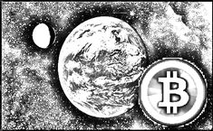 earth, moon and the new satellite BITCOIN Earth, Mother Goddess, World, The World
