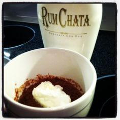 RumChata Mug Cake:  3 tbsp mix (combine: 1 box chocolate cake mix + 1 box angel food cake mix) and 2 tbsp RumChata  (can sub 1 tbsp w/ water). Mix in mug, micro for 1 minute. Top with Cool Whip or ice cream!