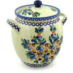 Polish Pottery 10-inch Jar with Lid and Handles | Boleslawiec Stoneware | Polmedia H2873F | Polmedia
