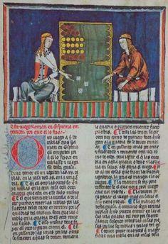An illuminated manuscript showing two women playing a backgammon-like game. [El juego que juegan se llama ìseys, dos e ASI (seis, Dos y As.)]