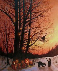 The Pumpkin Tree Halloween pumpkin scary creepy, black cat, jack-o-lantern