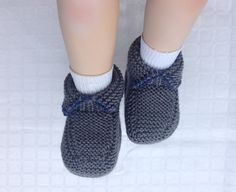 Grey Baby Booties Hand Knitted Cashmere Merino by CJsHandknits, £15.00