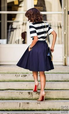21. #Channel Your Inner #Sailor by Wearing a Navy #Skirt with Stripes - How to do the High #Waist Trend #Right (for All Body Types) ... → #Fashion #Casual