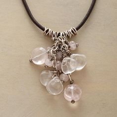 """BLUSHING BUBBLES NECKLACE -- A cluster of palest pink rose quartz blushes amid tiny sterling rings, strung on a leather cord with sterling silver toggle closure. Exclusive. 17""""L."""