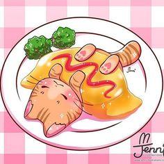Animal Drawing Would you like some omurice? Pokémon Kawaii, Chat Kawaii, Arte Do Kawaii, Kawaii Anime, Cute Food Drawings, Cute Kawaii Drawings, Cute Animal Drawings, Anime Animals, Cute Animals