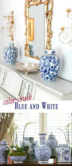 Color Inspiration for your home: Blue and White Porcelain Ginger Jars, Bowls and Vases - Living Room Decorating Ideas on lauratrevey.com