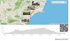 Nach Mojacar zum Ziel  Vollständiger Bericht bei: http://agu.li/Ub  Auch die letzte Fahrt ans Ziel hatte nochmals ein paar Überraschungen bereit. Die schönste war die 55 Kilometerlange Fahrt, ganz leicht abwärts, unterstützt von einem kräftigen Rückenwind. Direkt bis vor das Hotel. Das GPS meint: 133.86 KM und 758 Höhenmeter.