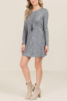 The Beckett Tie Side Hacci Dress features a cozy knit. Cos Outfit, Cos Clothes, Cozy Knit, Dress Black, Tie, Black And White, Model, Sweaters, Dresses