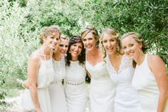 #bridesmaids in #white and #brideInIvory #vintageGownForSale, #JulesMorganPhotography